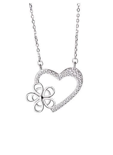 Enesstore Gümüş Kalbimin Çiçeği Bayan Gümüş Kolye Beyaz